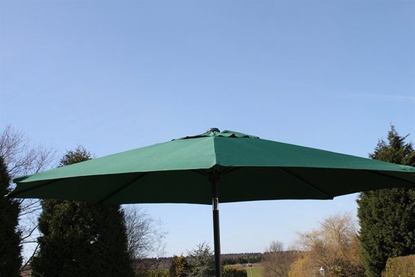 2.7M Wide Garden Parasol With Tilt and Crank-Green
