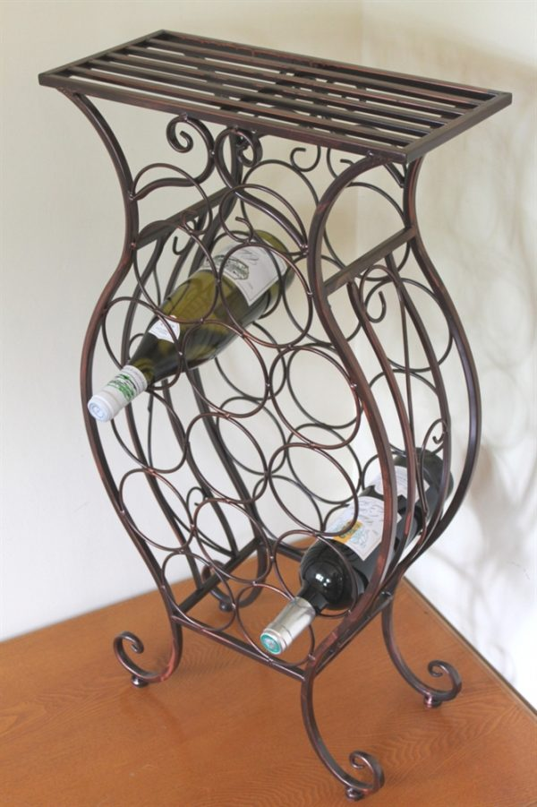 Antique Style Bronze Wine Rack for 13 Bottles