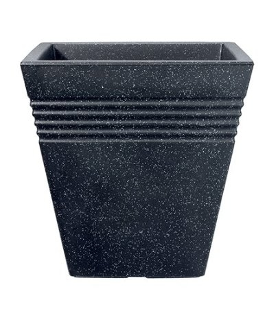 Stewart Piazza Planter 34cm square Granite colour-Made from Robust Plastic