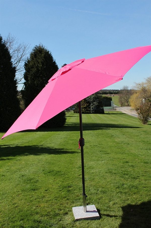2.7M Wide Garden Parasol Tilt and Crank-Pink