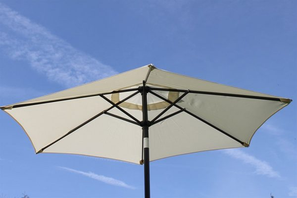 2.1M Wide Parasol With Tilt and Crank-Cream