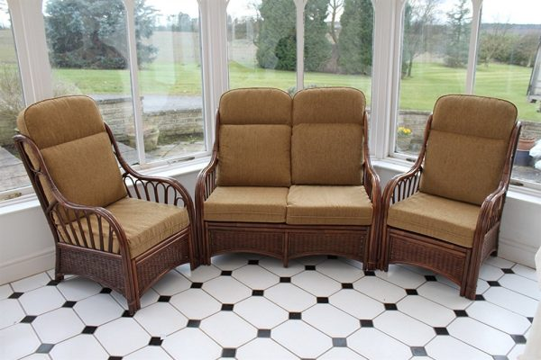 Verona Cane 3 Piece Suite - 2 Chairs & Sofa- Coffee Colour