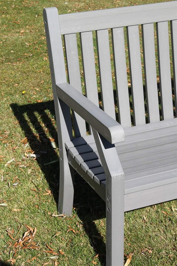 Teak Effect Polymer 3 Seater Garden Bench- Grey Colour