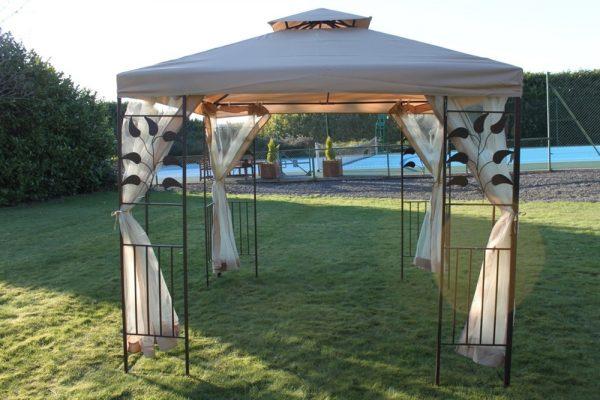 Leaf Design 2.5M Gazebo-Beige Cover & 4 Net Curtains