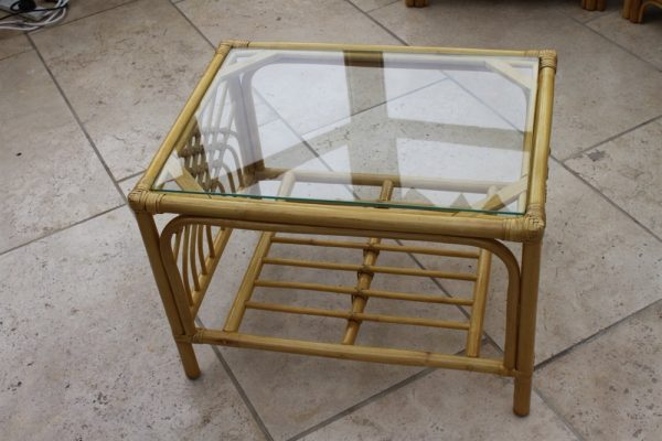 Portofino Cane Coffee Table in a Natural Finish -Tempered Glass