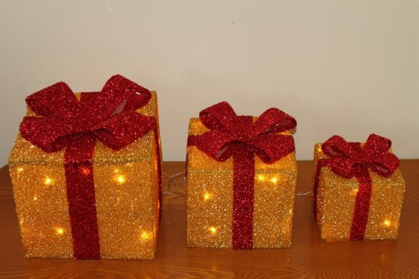 Set of 3 Gold Parcels & Red Bow- Battery