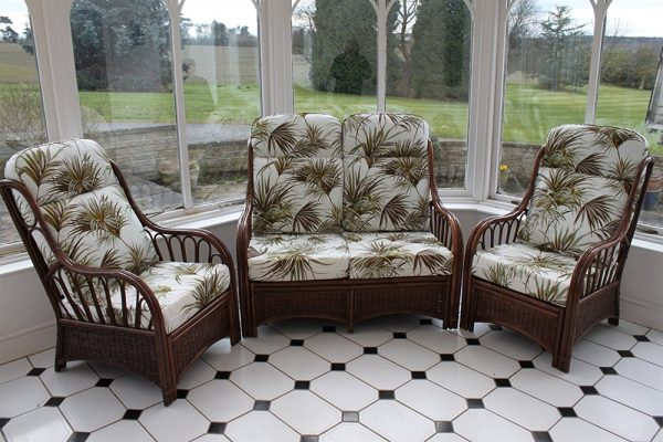 Verona Cane 3 Piece Suite - 2 Chairs & Sofa- Palm Design