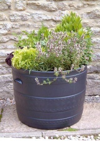 Set of 2 Stewart Plastic Garden Outdoor Smithy 50cm Patio Tub in Black