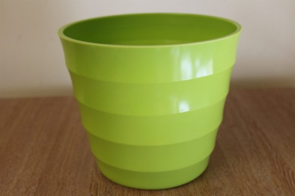 Quality Lime Green Rigid Plastic Plant Pot Cover  - Diameter 23.5cms