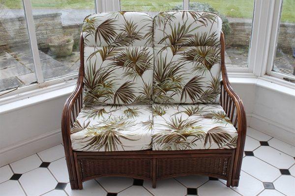 Verona Cane Furniture -2 Seater Sofa - Palm Design Fabric