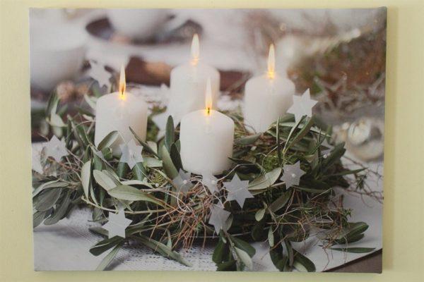 Festive 4 white Candle Print LED HD1386