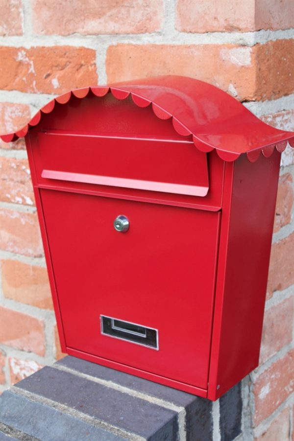 Traditional Galvanised Wall Mounted Post Box-Red