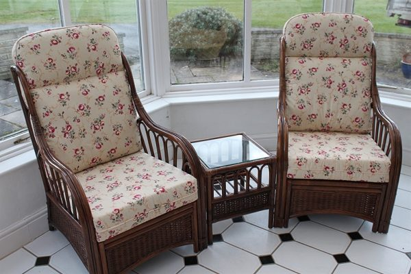 Verona Cane Duo Set- 2 Chairs & Side Table- Rose Design