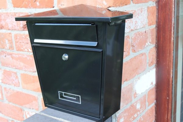 Galvanised Wall Mounted Post Box- Black