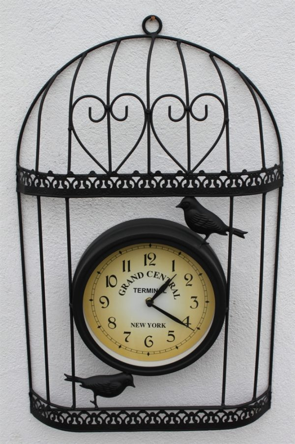 Bird Cage Design Decorative Garden Clock