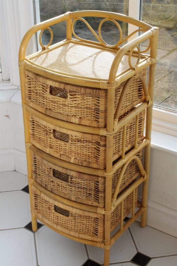 Cane and Rattan Set of 4 Drawers- Ideal with Conservatory Furniture