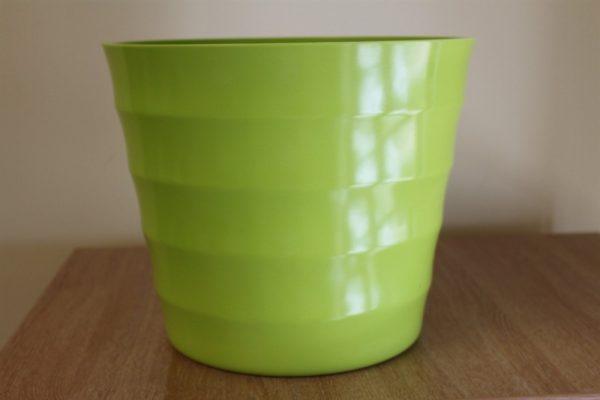 Quality Lime Green Rigid Plastic Plant Pot Cover - Diameter 28cms