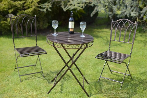 Versaille Metal 2 Seater Bistro Set, Antique Bronze, COMPLETE WITH SEAT PADS