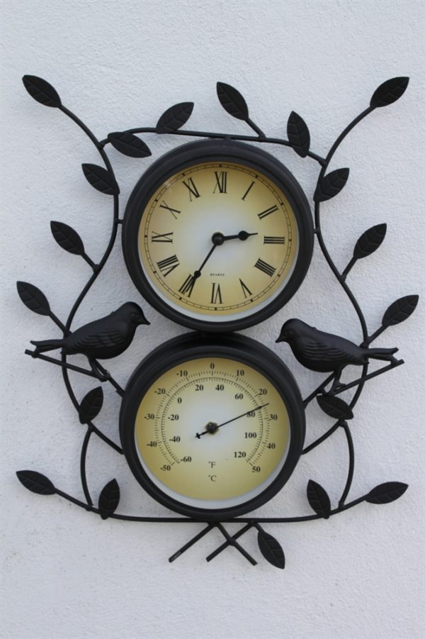 Leaf & Bird Design Clock With Thermometer