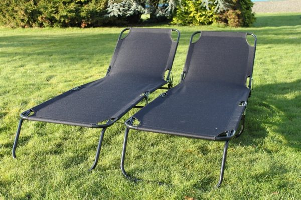 SET OF 2- Folding Flat Steel Loungers in Black Textoline