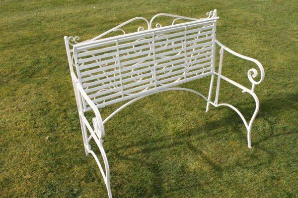 Versailles Folding Metal Garden Bench in Antique White Finish