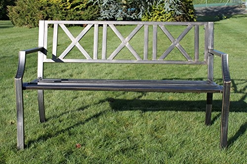 Metal Garden Bench with Cast Iron 'Modern Design' Back Rest