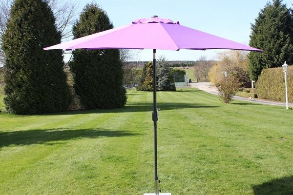 2.7M Wide Garden Parasol With Tilt and Crank-Purple