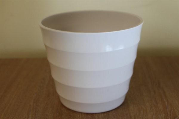 Quality White Rigid Plastic Plant Pot Cover  - Diameter 28cms
