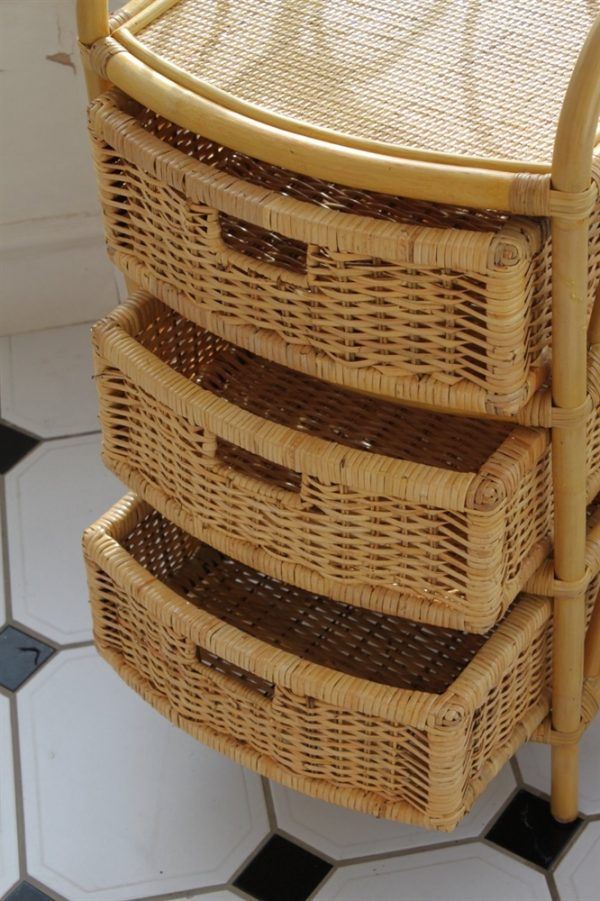 Cane and Rattan Set of 3 Drawers- Ideal with Conservatory Furniture