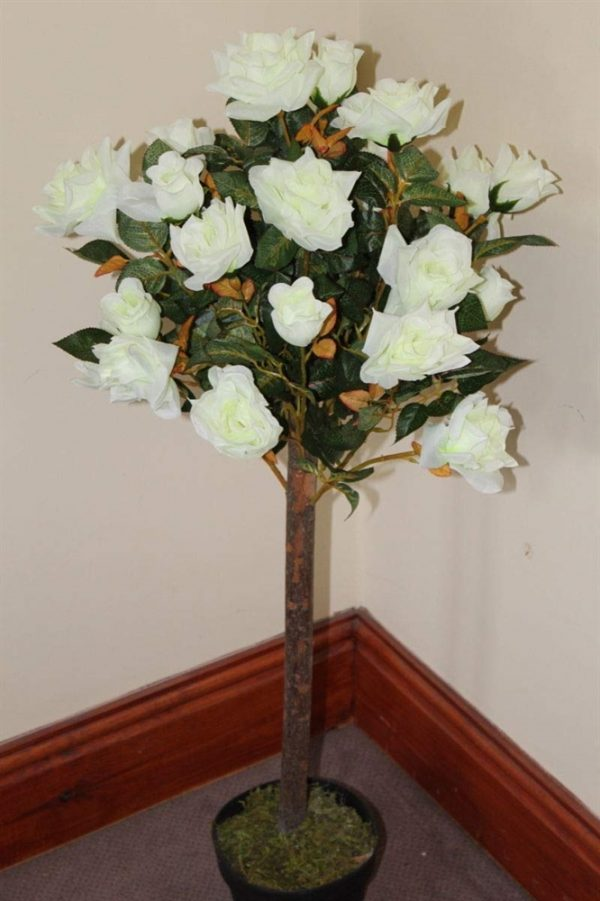 1M Tall Artificial Half Standard Rose Tree - White