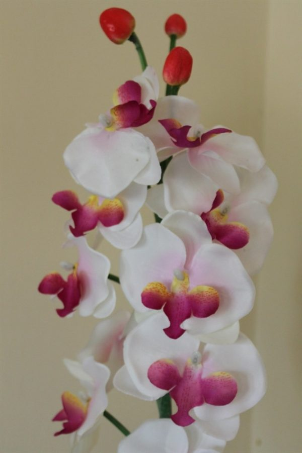 95cm Tall Artificial Orchid Plant - White