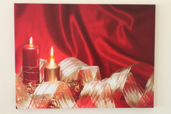 Christmas Ribbon & Candles Print HD1025