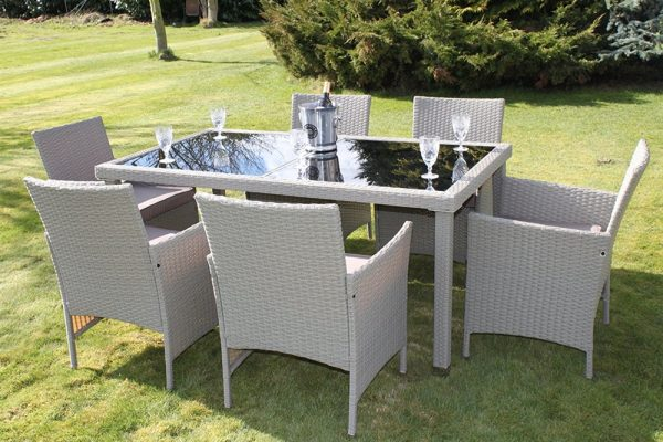 Stratford Rattan Weave Garden 6 Seater Dining Set Complete With Cushions