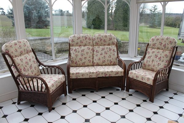 Verona Cane 3 Piece Suite - 2 Chairs & Sofa- Rose Design