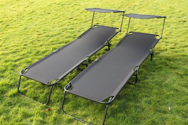 SET OF 2- Folding Flat Loungers in Black Textoline With Sun Shades