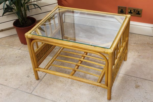 Sorrento Cane Coffee Table in a Natural Finish -Tempered Glass