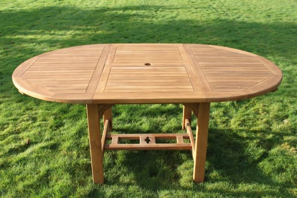 Solid Teak Oval Extending Garden Dining Table & Six Chairs