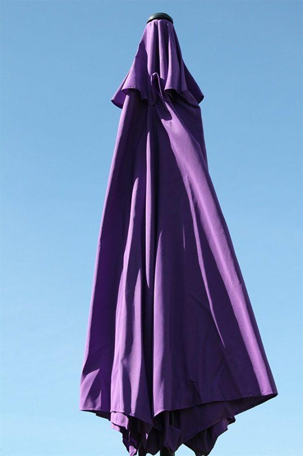 2.7M Wide Garden Parasol With Tilt and Crank-Purple