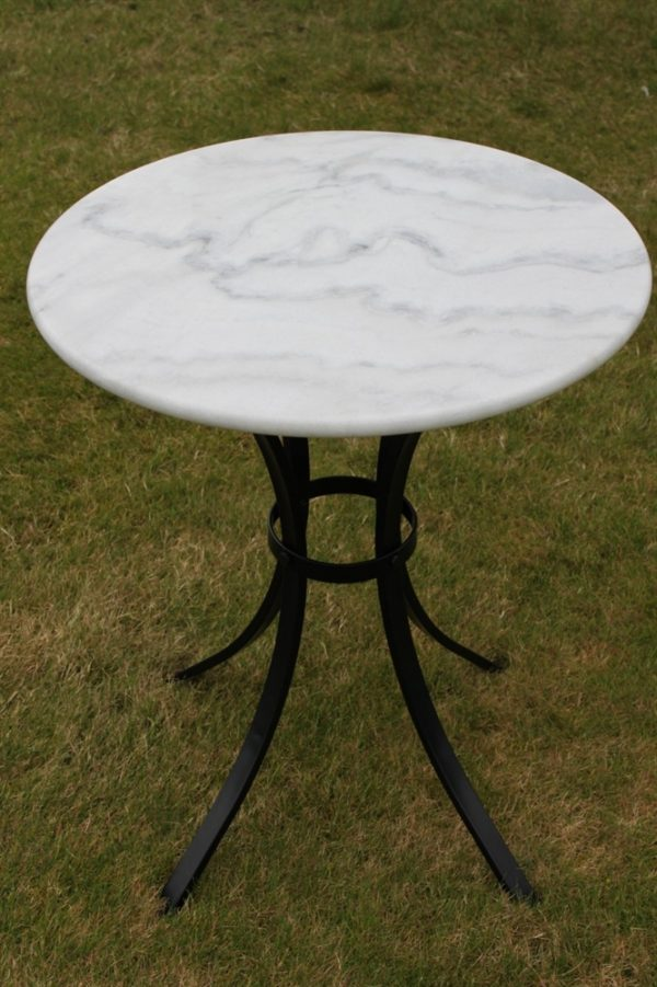 White Marble Top Bistro Table & 2 Chairs Set