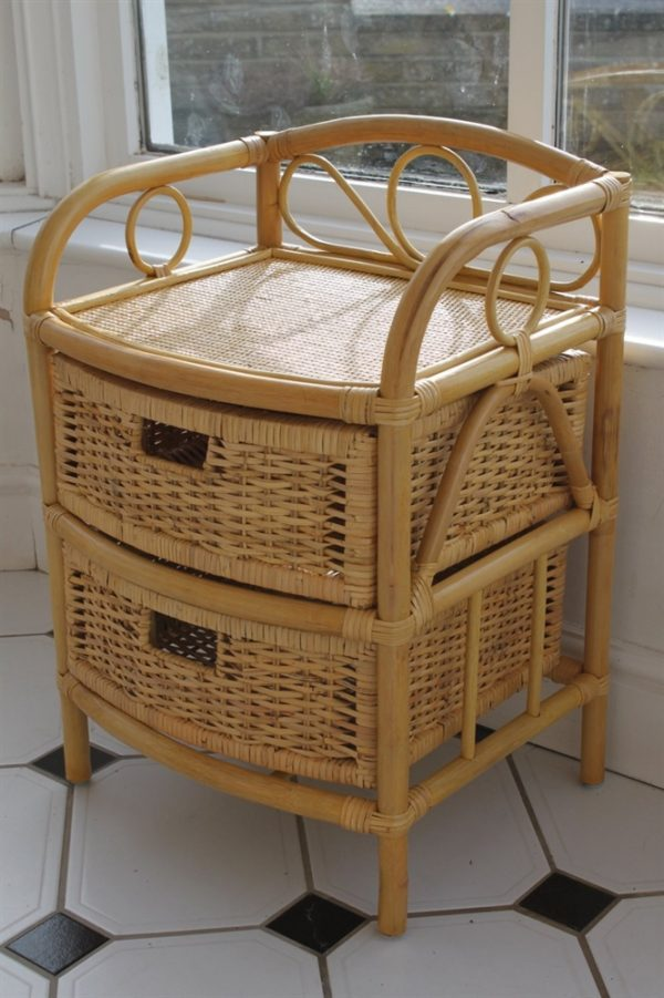 Cane and Rattan Set of 2 Drawers- Ideal with Conservatory Furniture