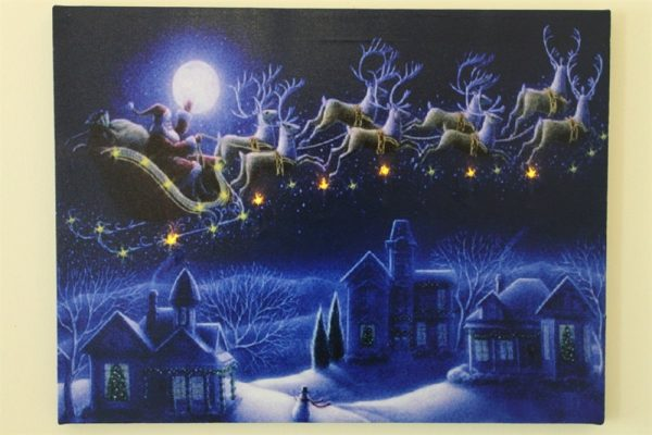 Santa and Sleigh Against the Moon Christmas Picture Print With LED Lights HD1149