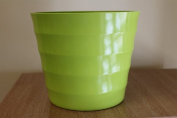 Quality Small Lime Green Rigid Plastic Plant Pot Cover  - Diameter 15.5cms