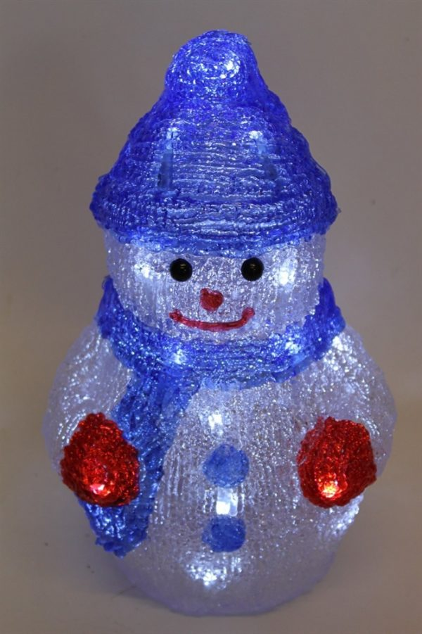 Acrylic Snowman Figure With 24 White LED Lights