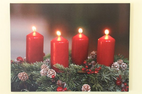 Festive 4 Red Candle Print With LED HD1717