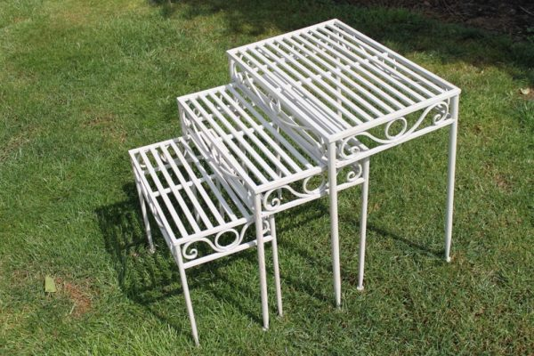 Set of 3 Metal Side Tables or Plant Stands in Antique White Finish