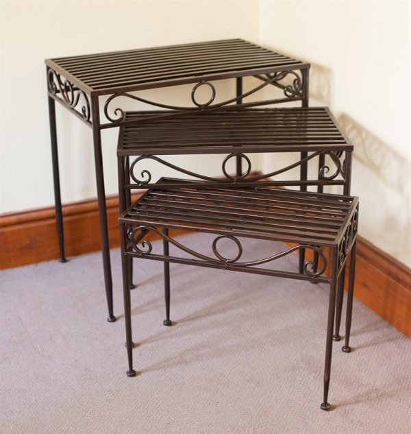 Versailles Set of 3 Metal Side Tables or Plant Stands in Antique Bronze Finish