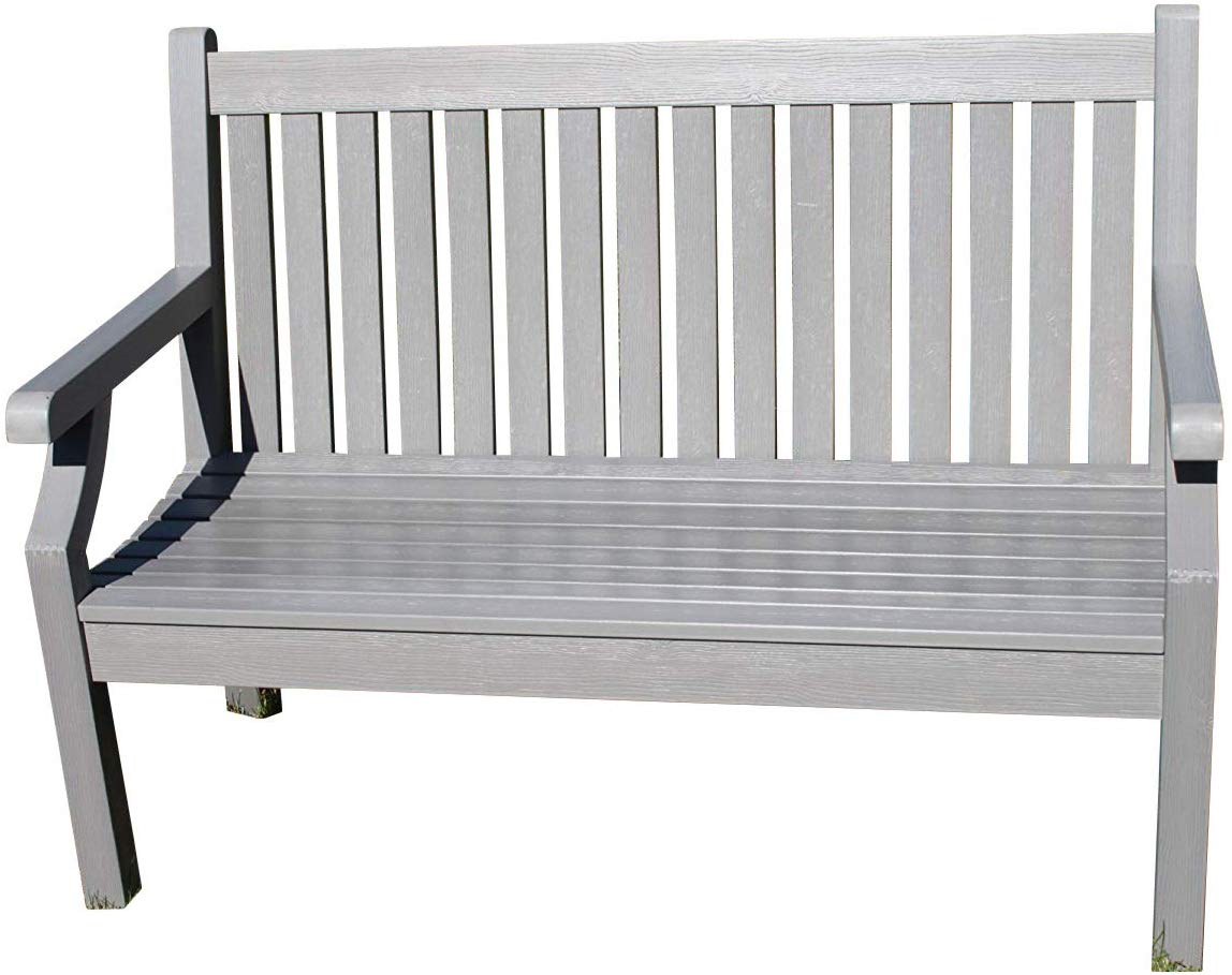 Teak Effect Polymer 2 Seater Garden Bench Grey Colour