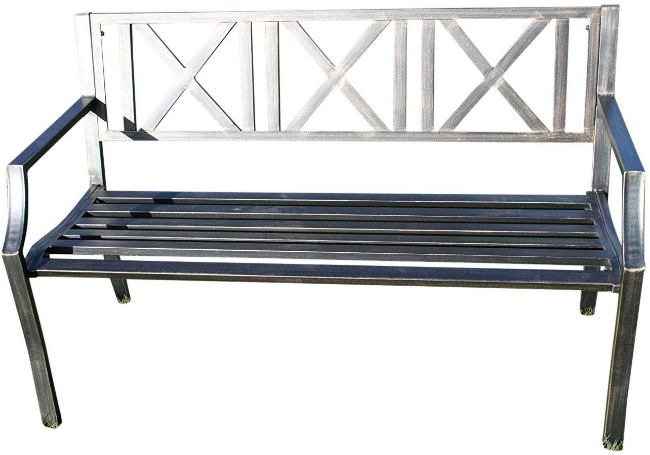 Metal Garden Bench With Cast Iron Modern Design Back Rest Garden Market Place