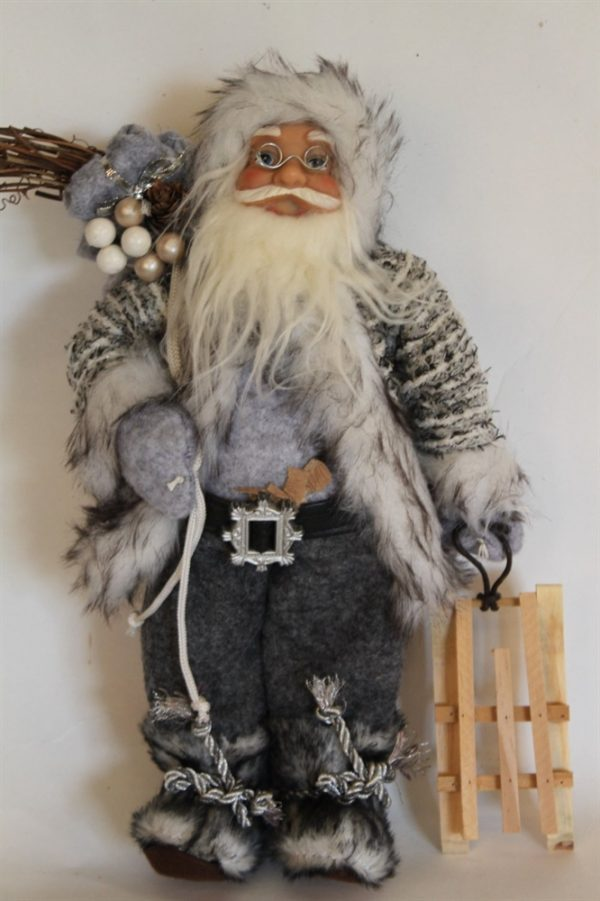 Father Christmas Figure With Sledge - Rustic Style and 30cms Tall