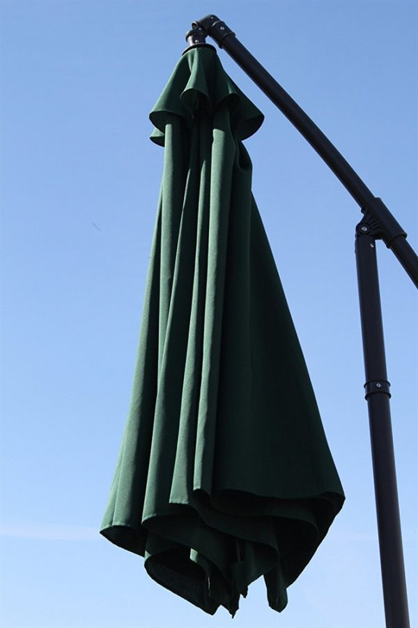 Cantilever 2.7M Wide Hanging Parasol In Green